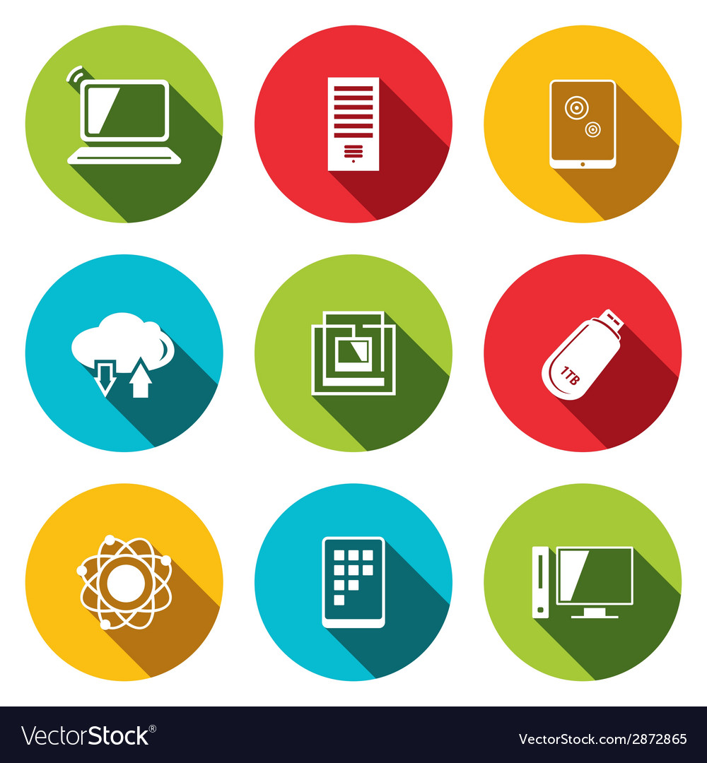 Exchange of information technology flat icons set vector
