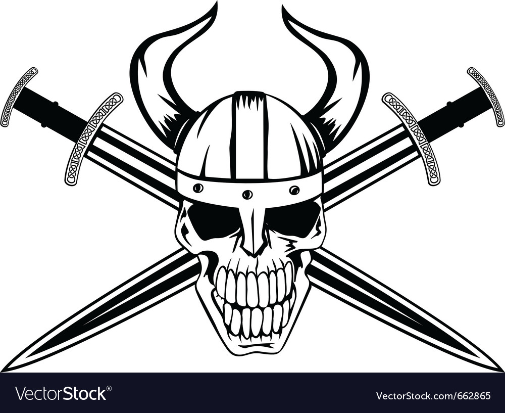 Skull and sword vector