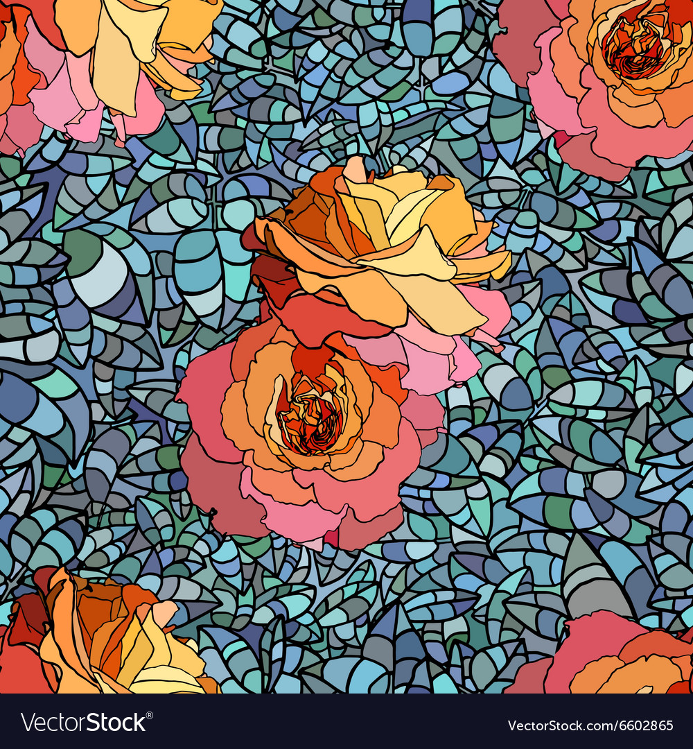 Stained glass style pattern with orange roses and vector