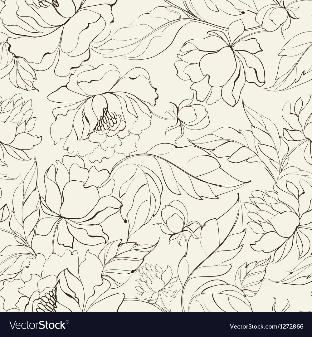 Seamless floral pattern with peony vector