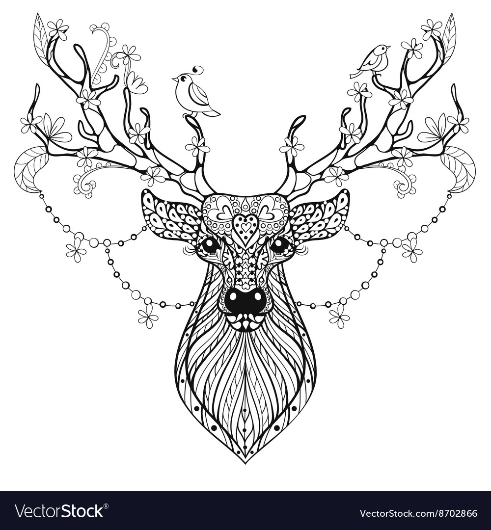 Zentangle hand drawn magic horned deer for adult vector