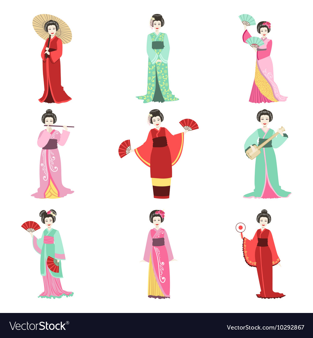 Japanese geisha in different kimono set vector