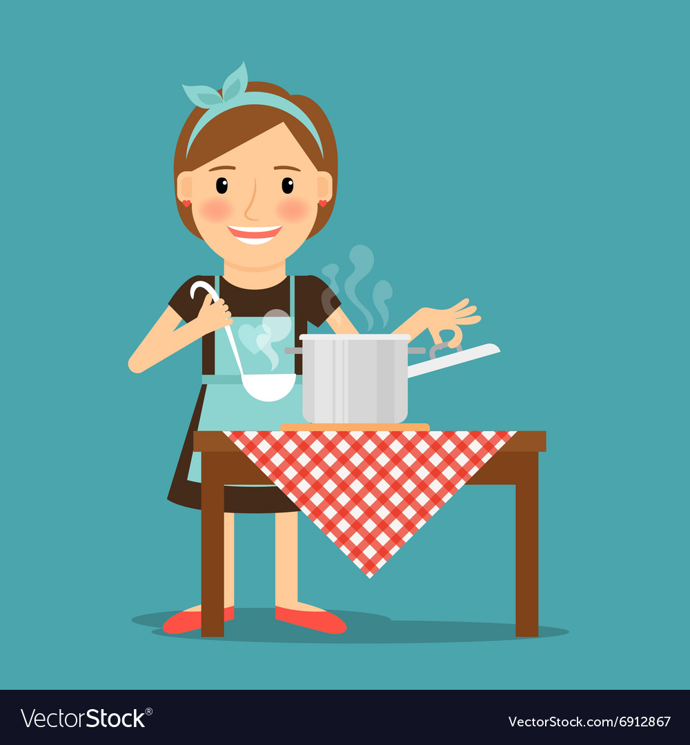 Mother cooking woman cooking in kitchen vector