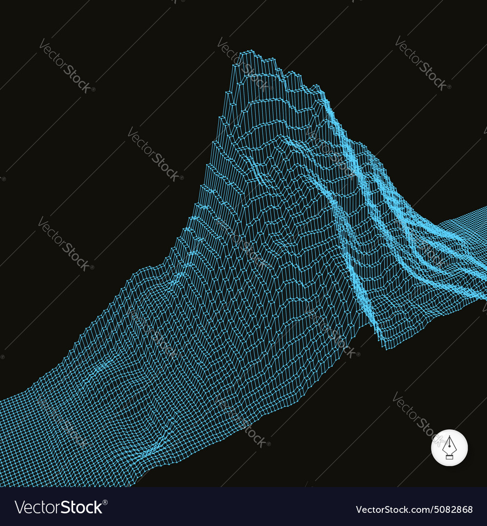 Abstract landscape background cyberspace grid vector