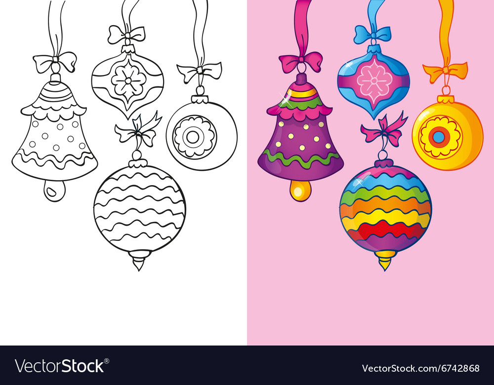 Coloring book of different christmas decoration vector