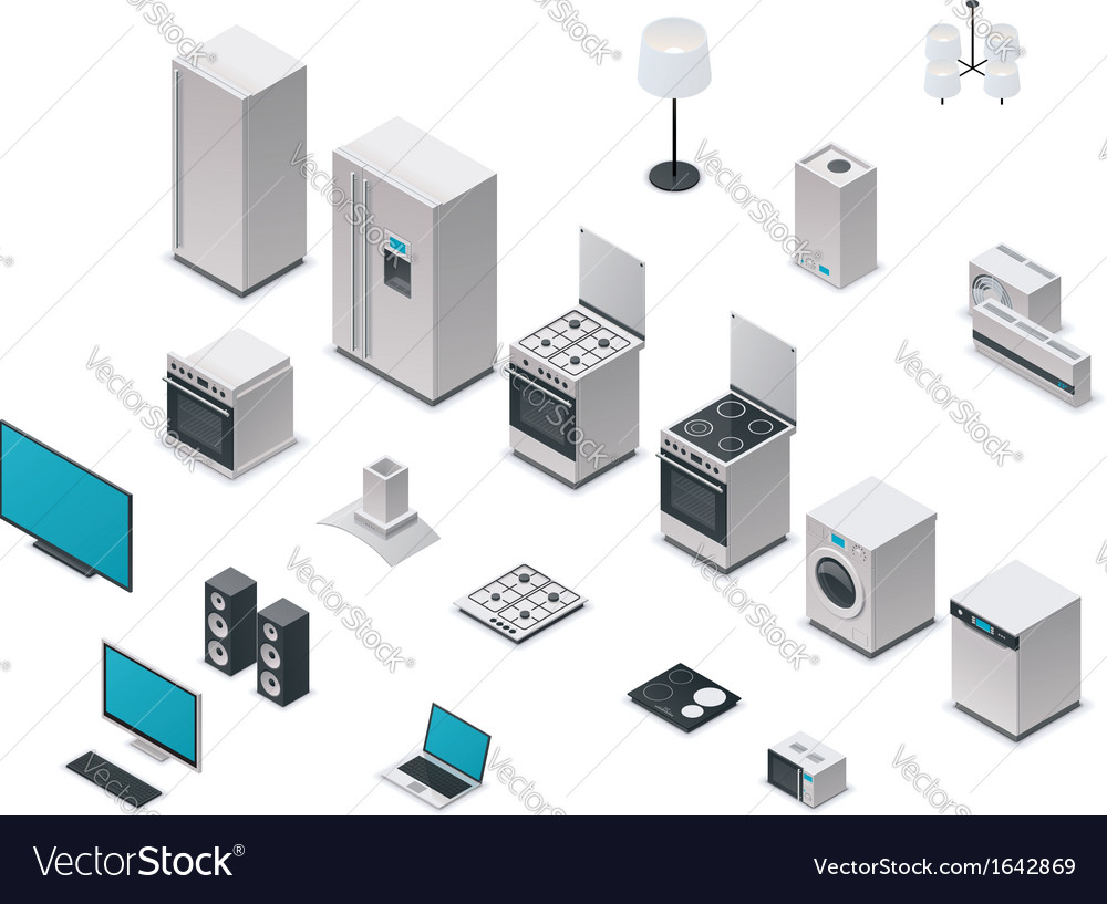 Isometric appliances set vector