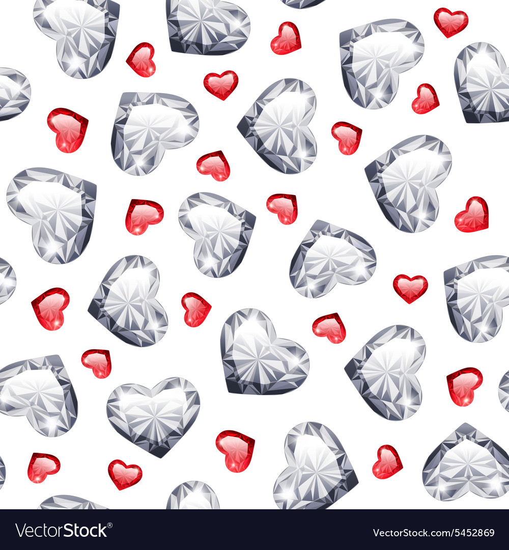 Ruby and diamond gem hearts seamless pattern vector