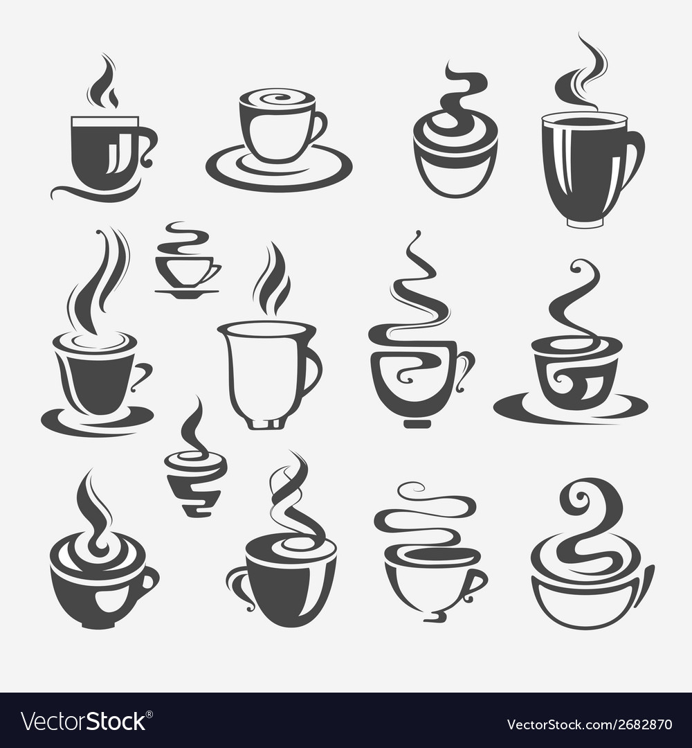 Set of decorative coffee cups vector