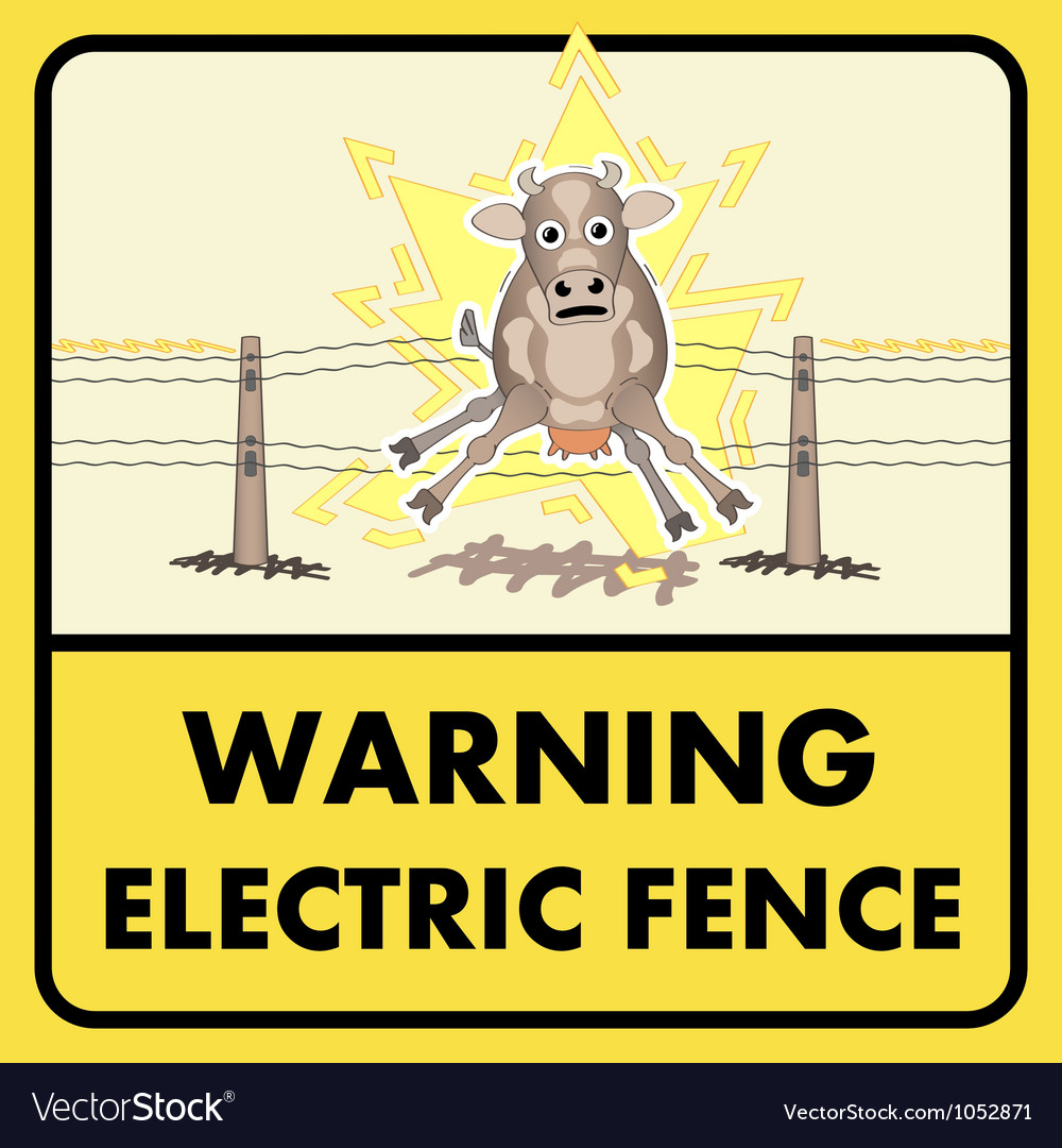 Electric fence sign vector