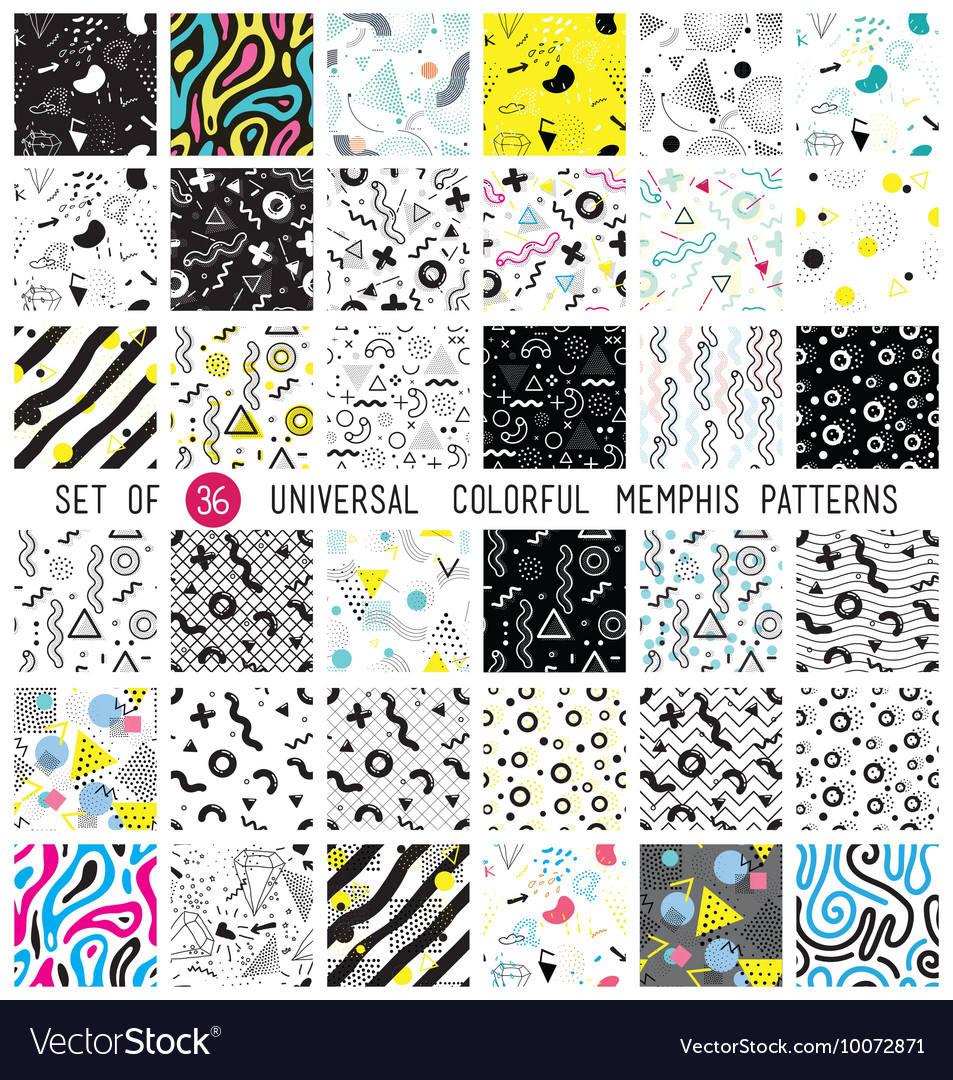 Geometric memphis seamless isolated patterns vector