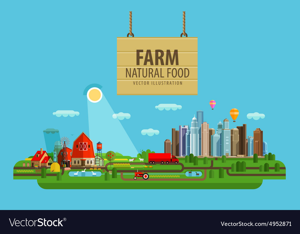 Natural food farm and city vector