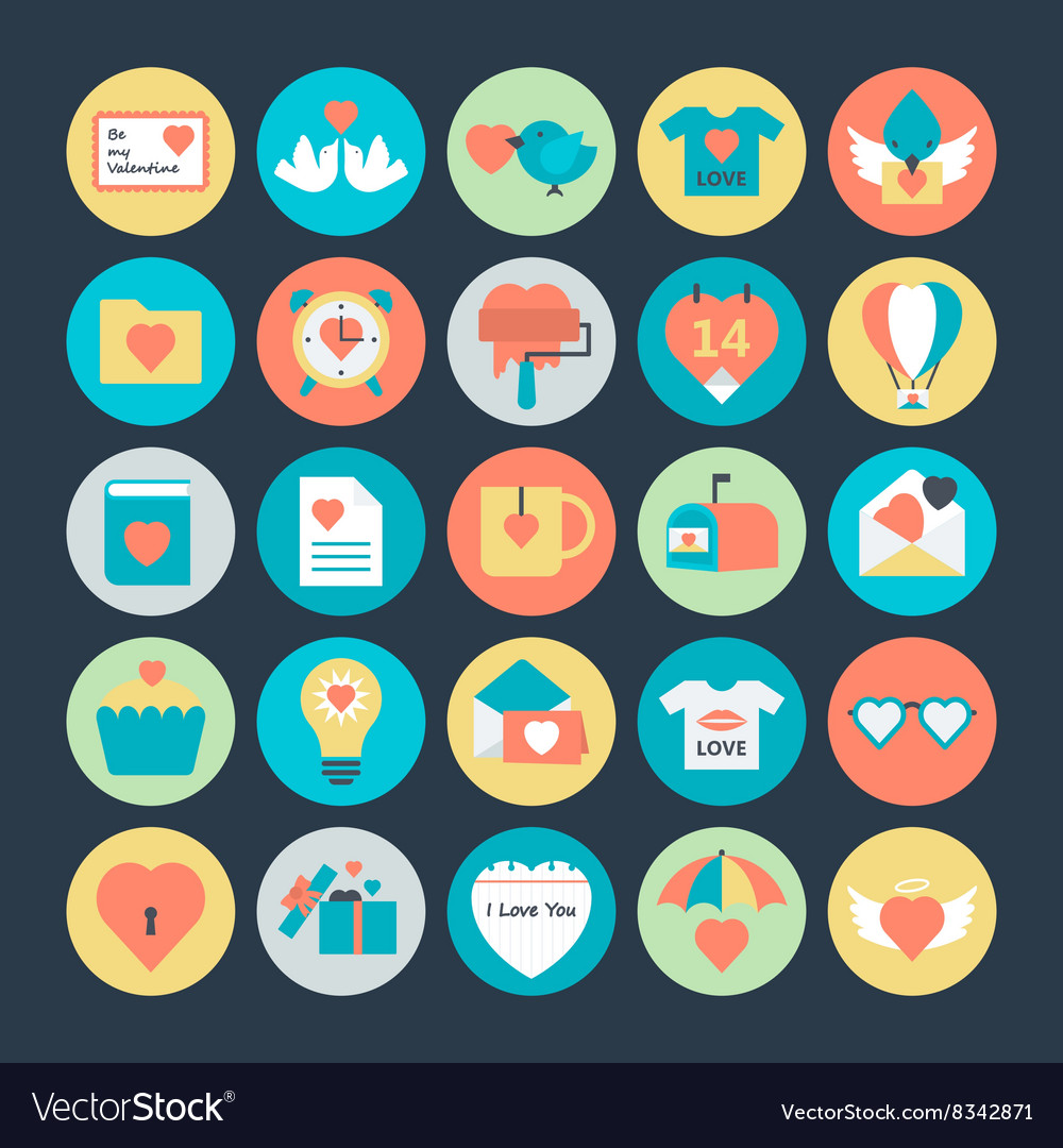 Valentines day icons 4 vector