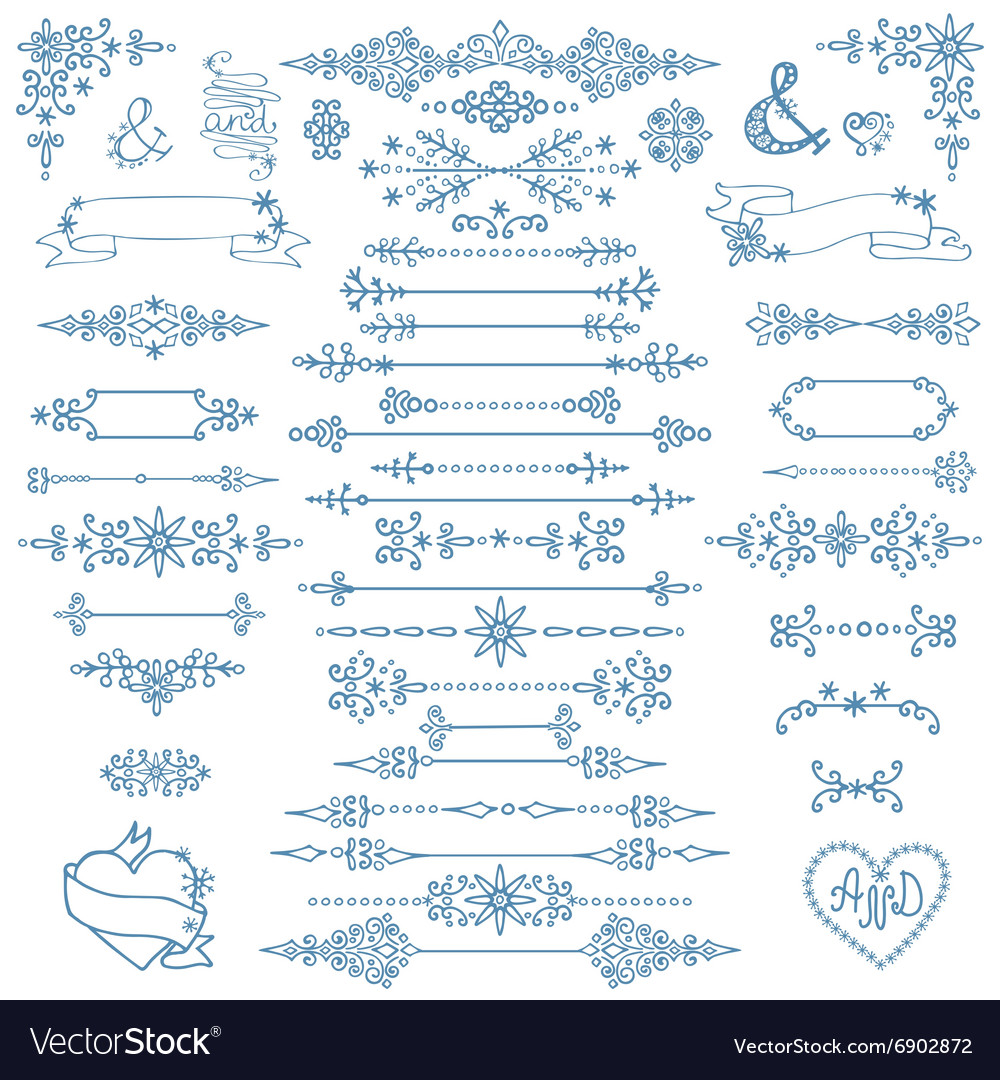 Christmasnew year decor setwinter elements vector