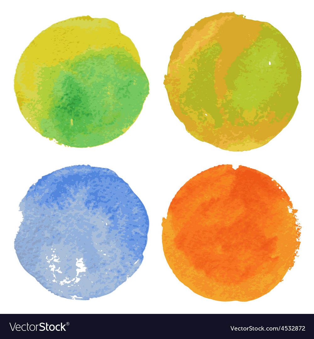 Set of watercolor round backgrounds vector
