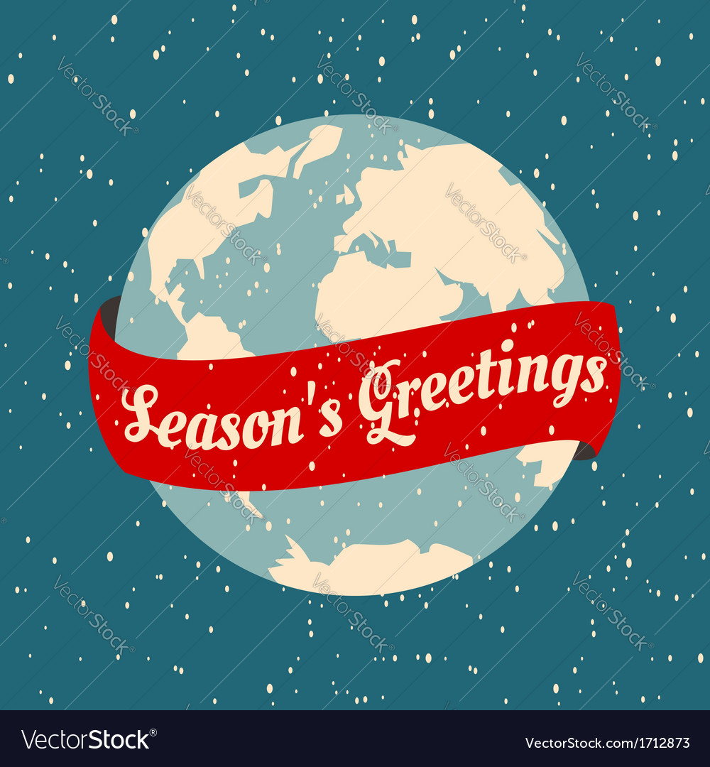 Christmas greeting card with the earth globe vector