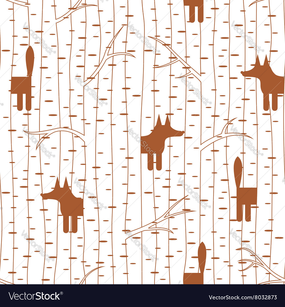 Seamless pattern with fox in forest vector