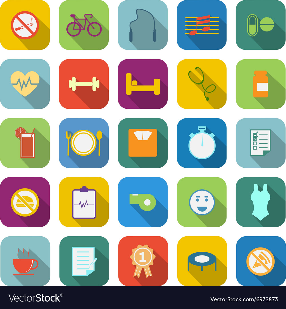 Wellness color icons with long shaodw vector