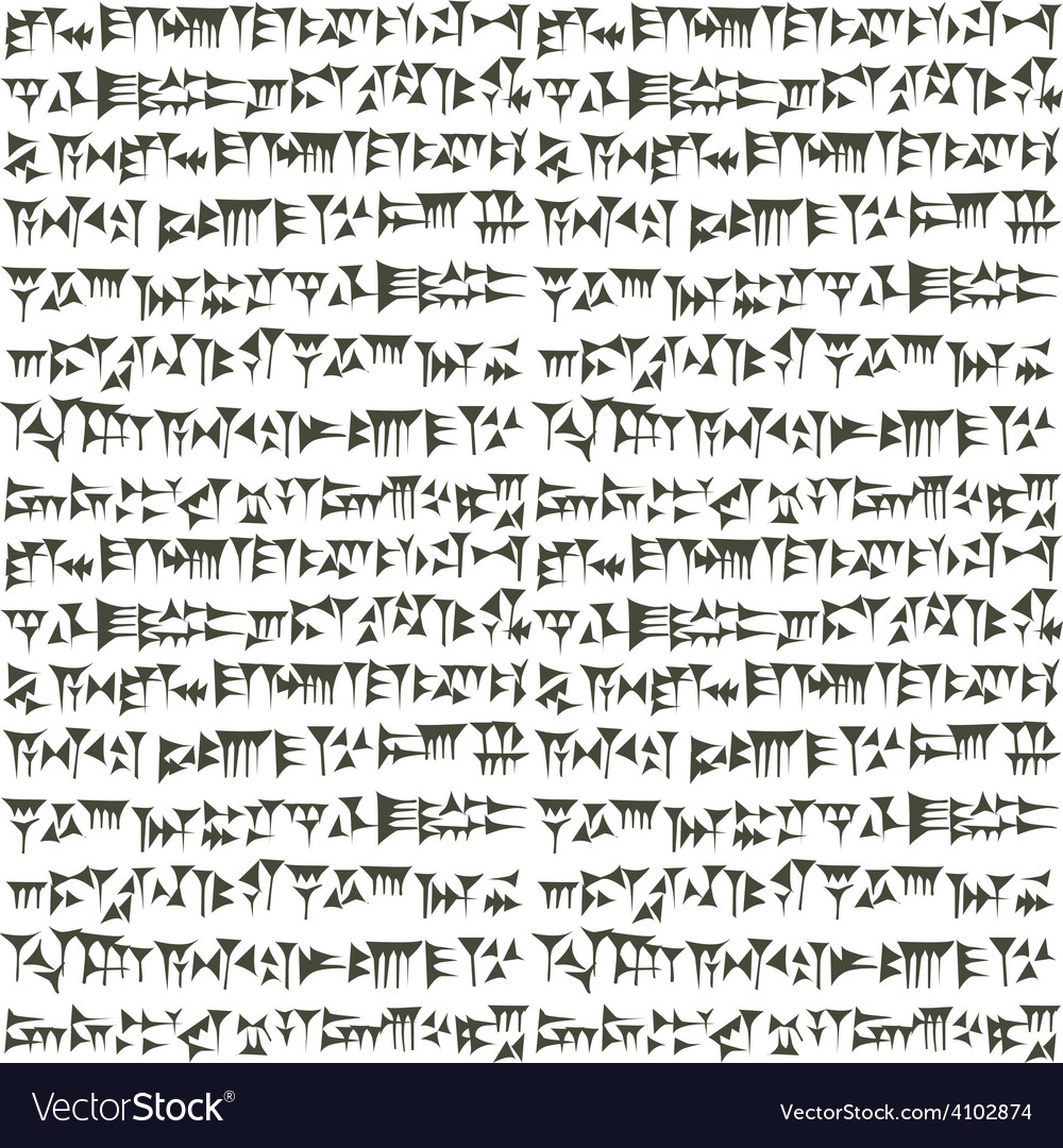 Ancient cuneiform assyrian or sumerian inscripton vector