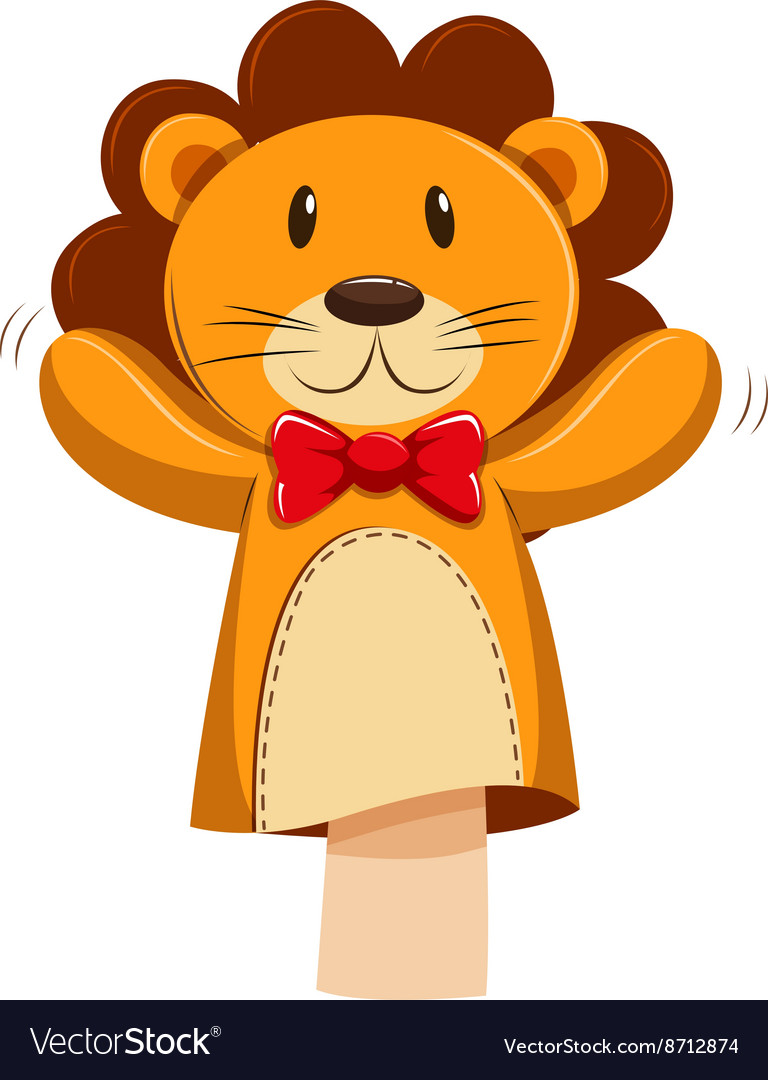 Lion hand puppet with red bow vector