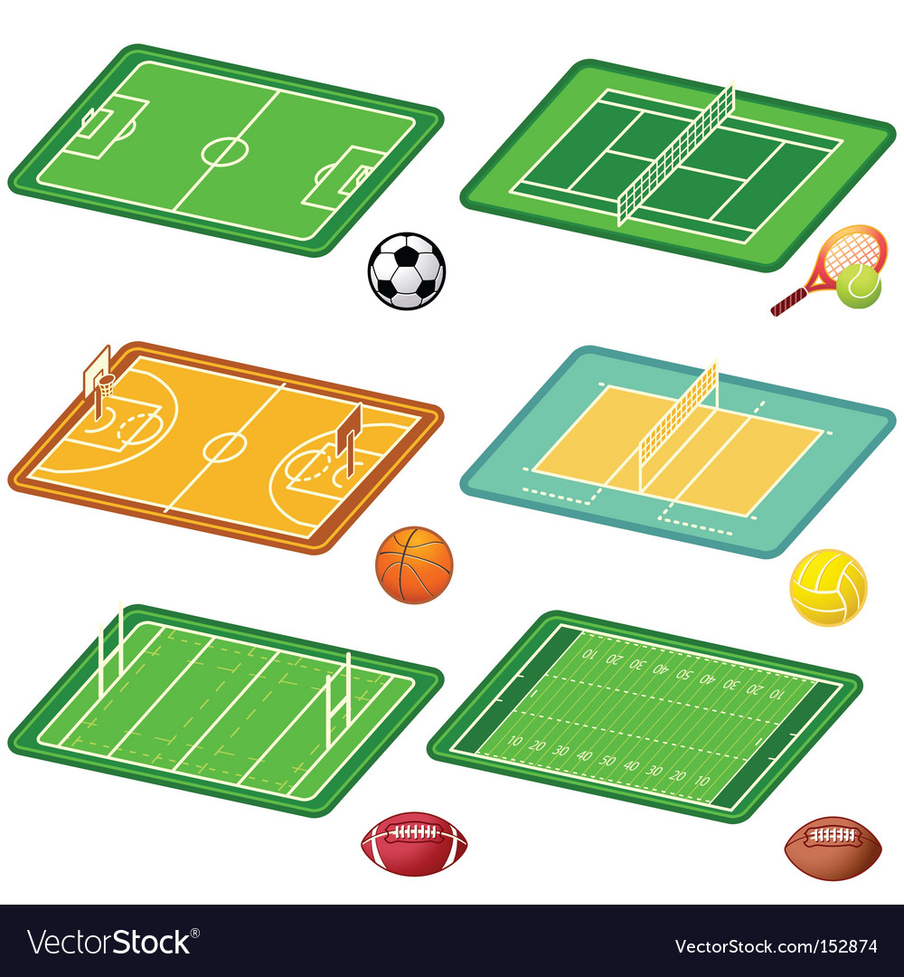Team sports fields and balls vector