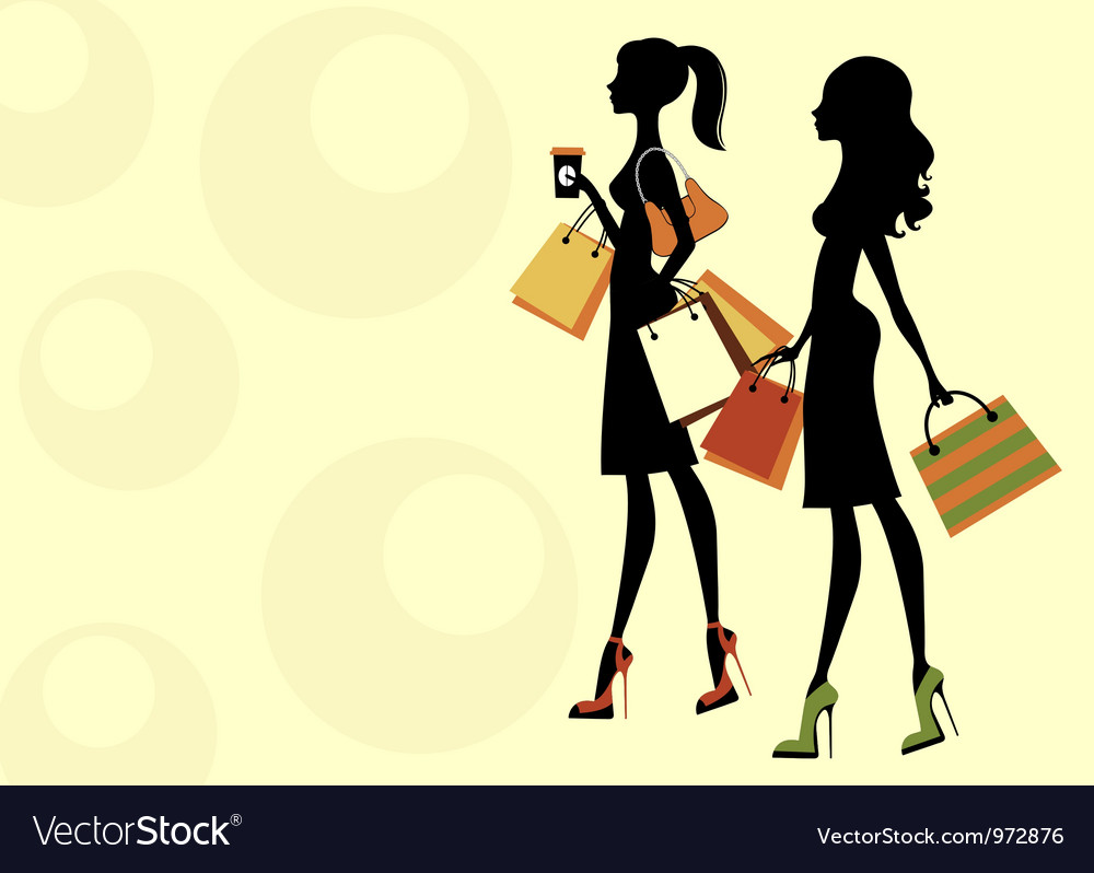 Chic women shopping vector