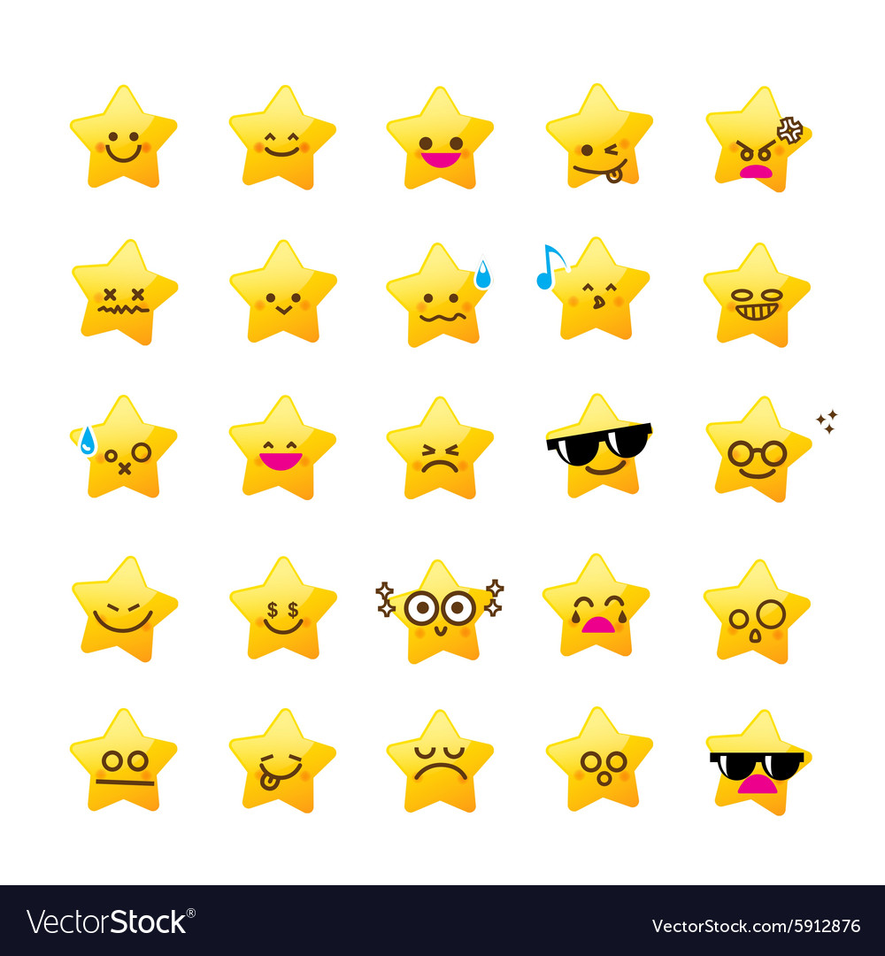 Collection of difference emoticon icon of star vector