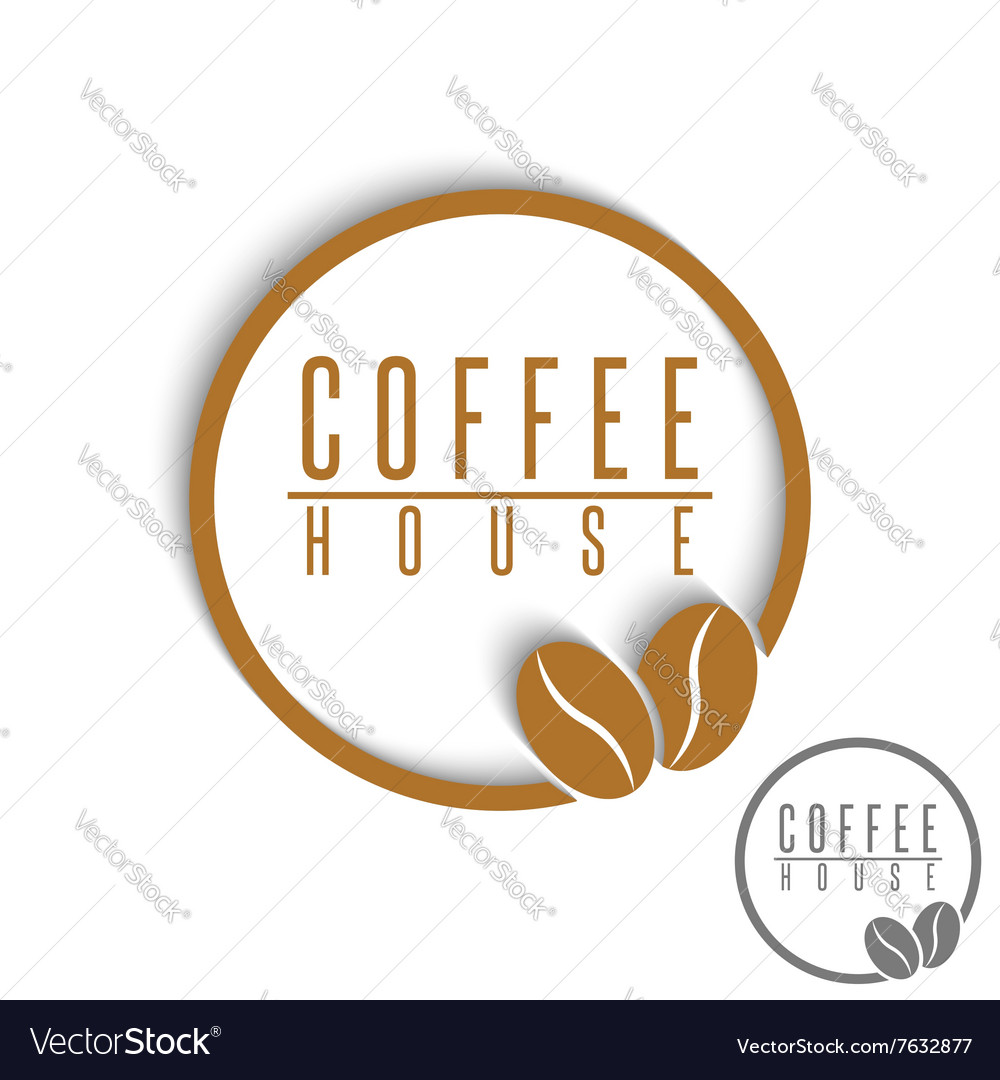 Coffee logo beans brown round cafe menu emblem vector