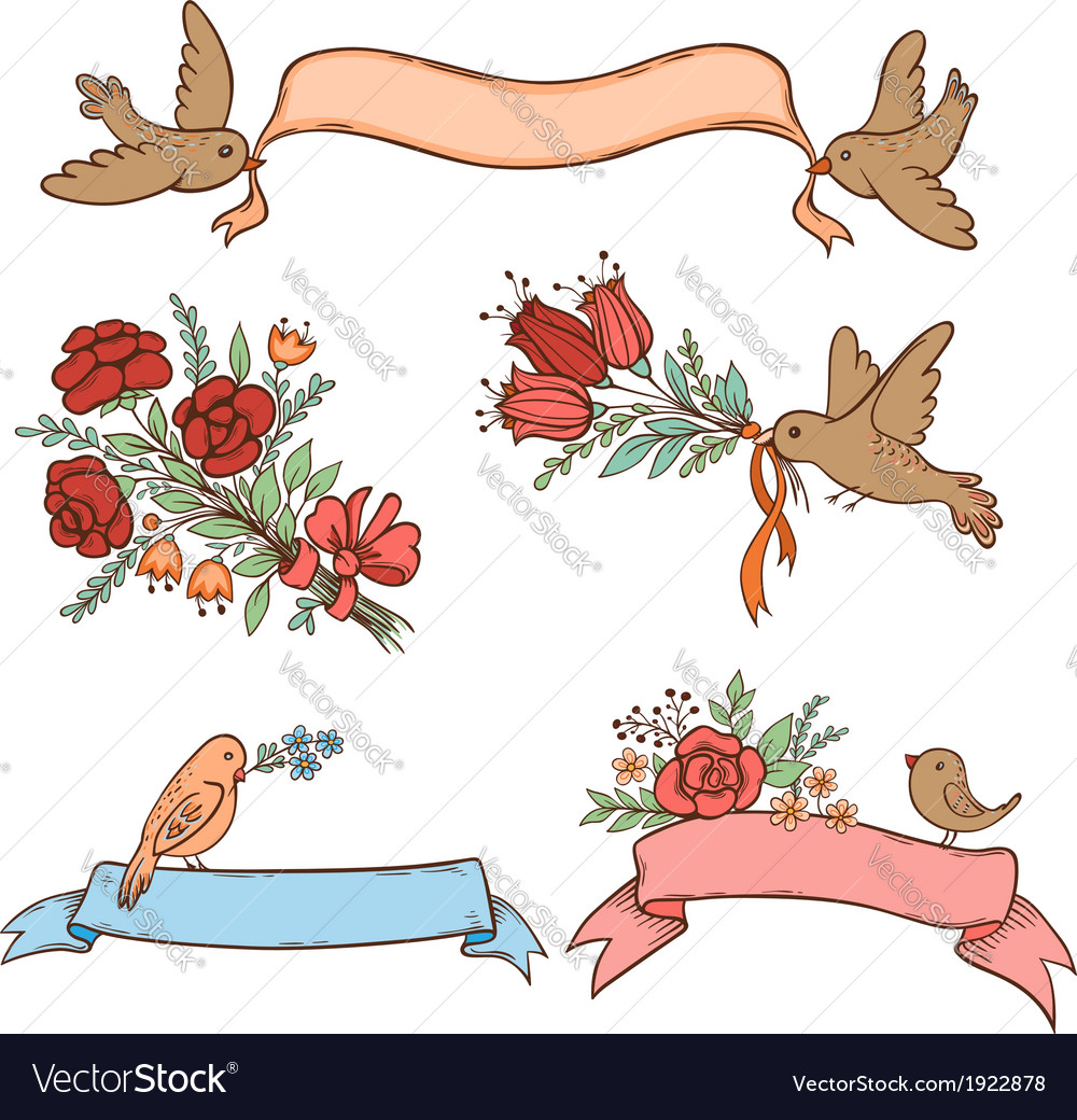Banners with flowers and birds vector