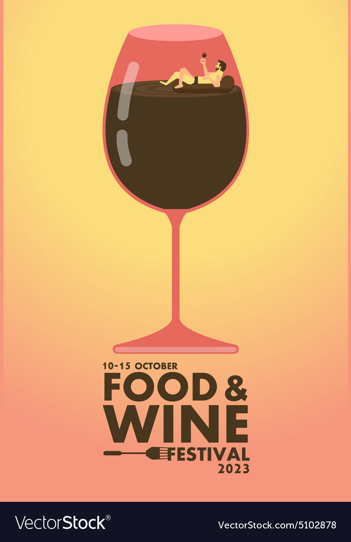 Food and wine festival poster relax concept vector