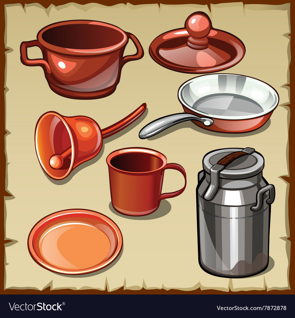 Set of different tableware pots mugs cans vector