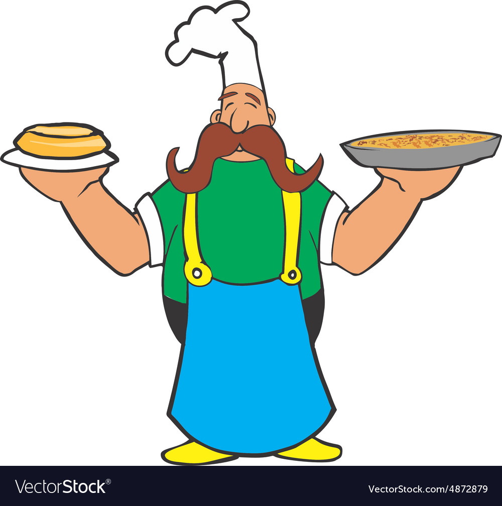 Cartoon cook with pizza and pie in the hands vector