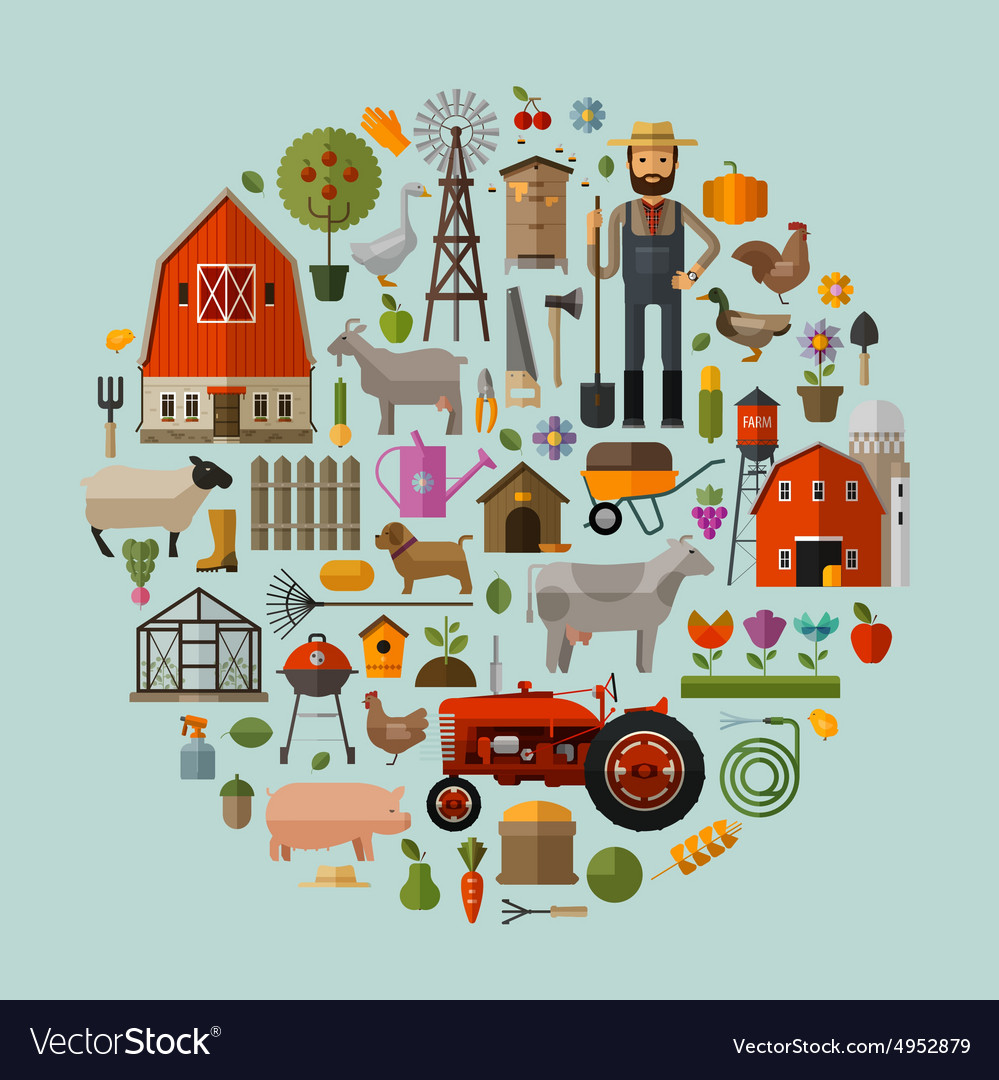 Farm in the village a set of elements  house vector
