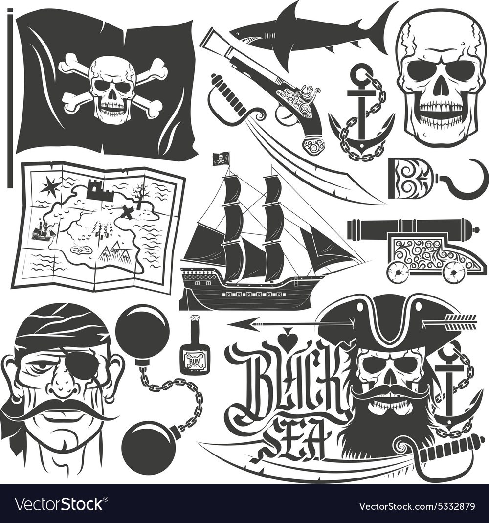 Pirate set for logos vector