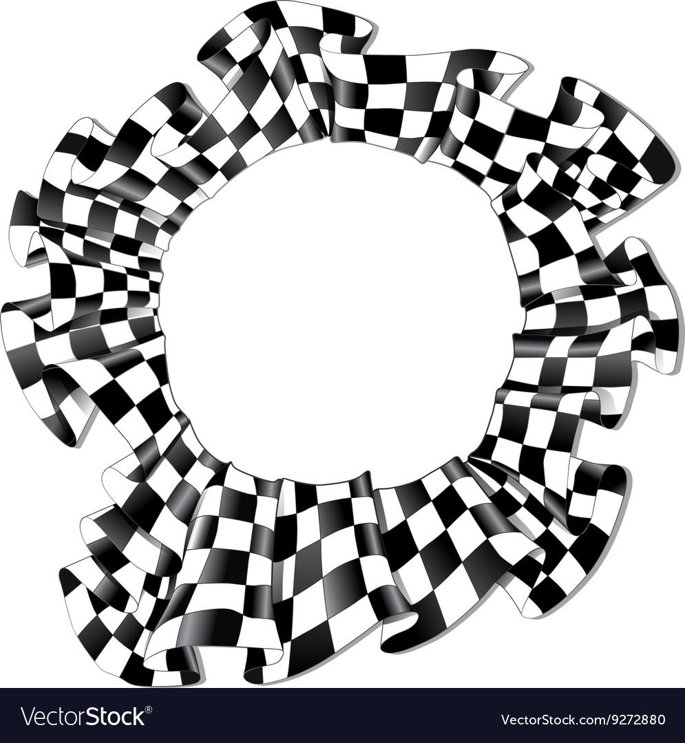 Checkered round racing flag square round ribbon vector