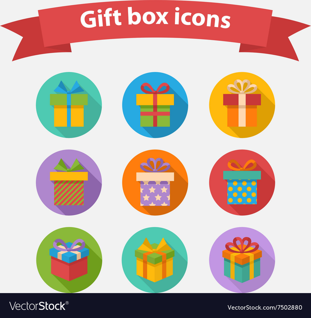 Gift box colorful icons set vector