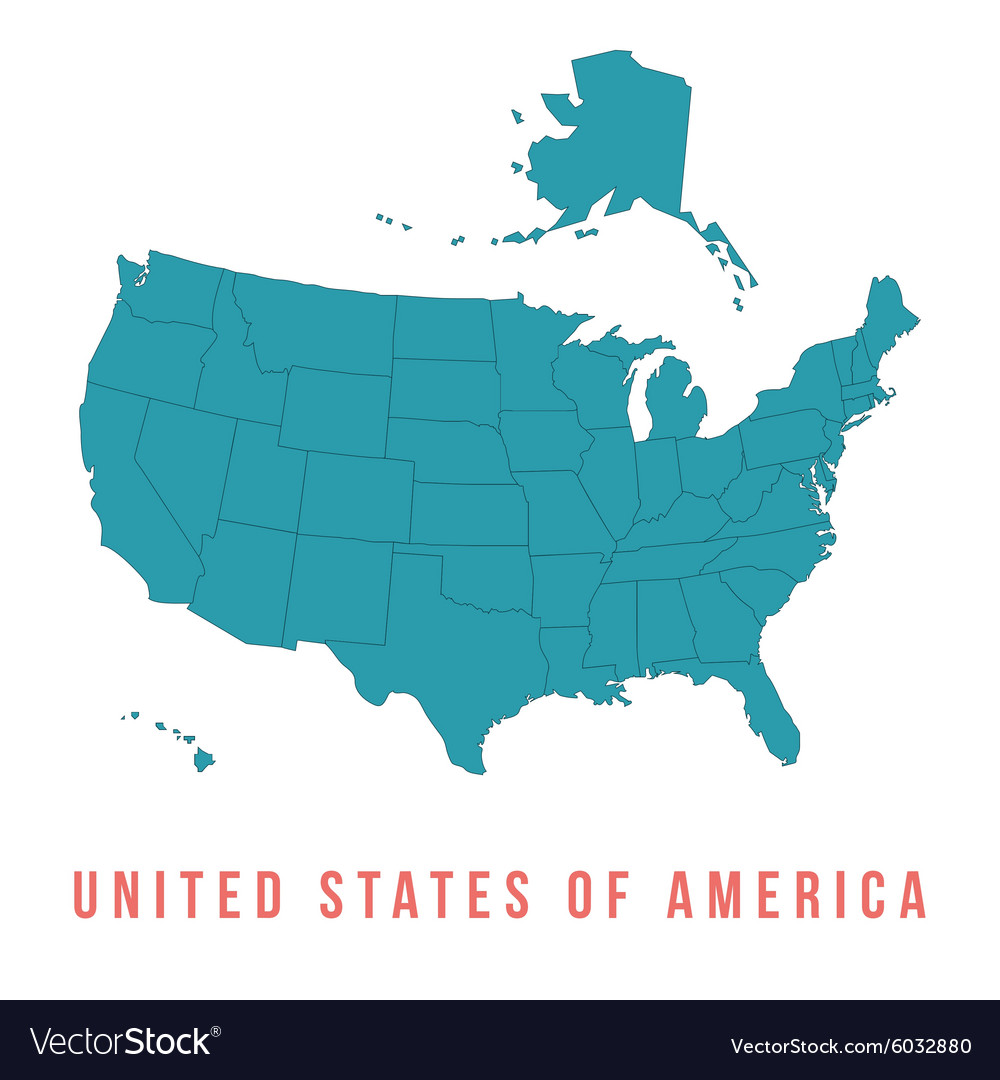 Map of usa with separable borders vector