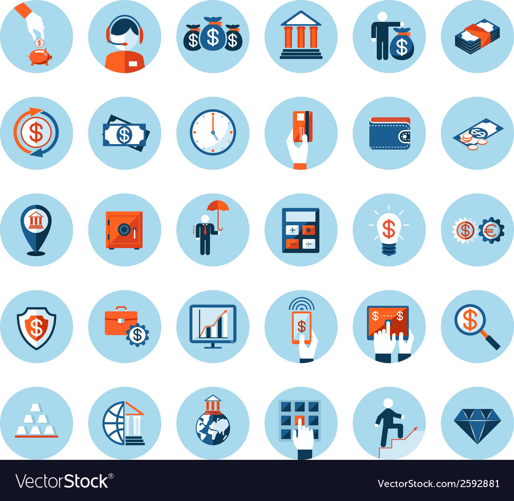 Finance and banking icons in colored flat style vector