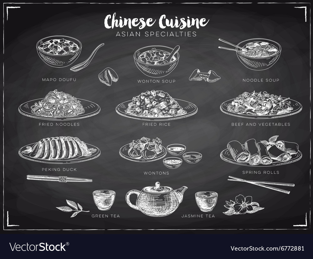 Hand drawn with chinese food vector