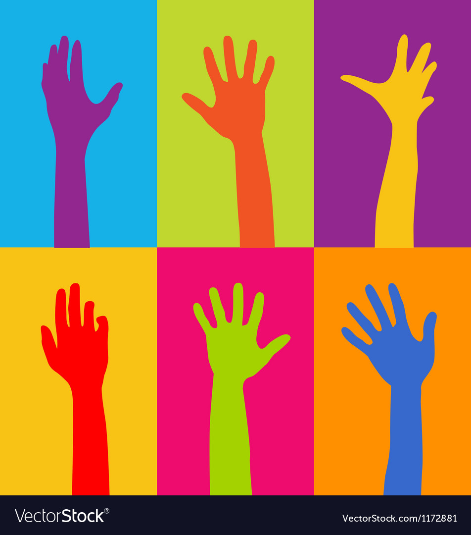 Hands of different colors vector