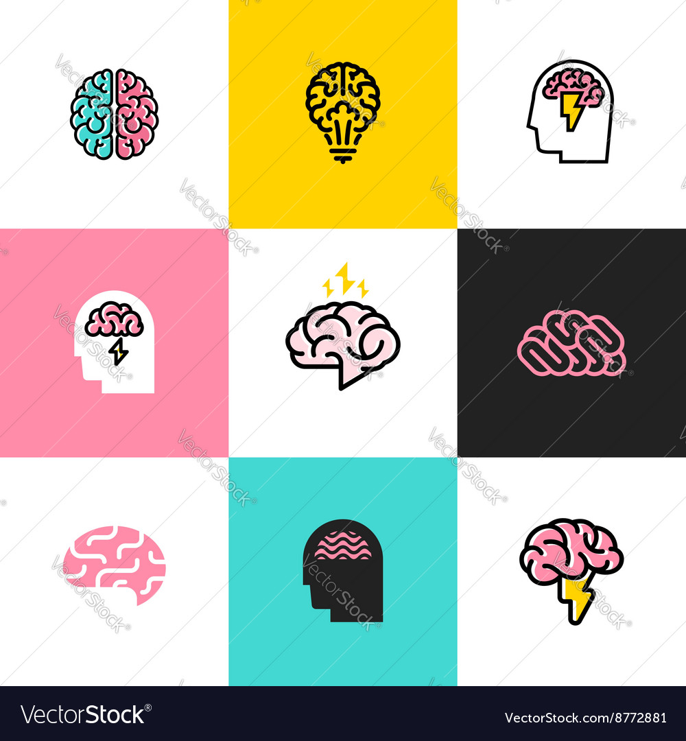 Icons and logos of brain brainstorming idea vector