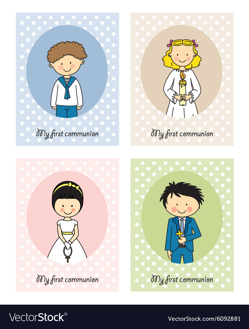 Set communion card vector