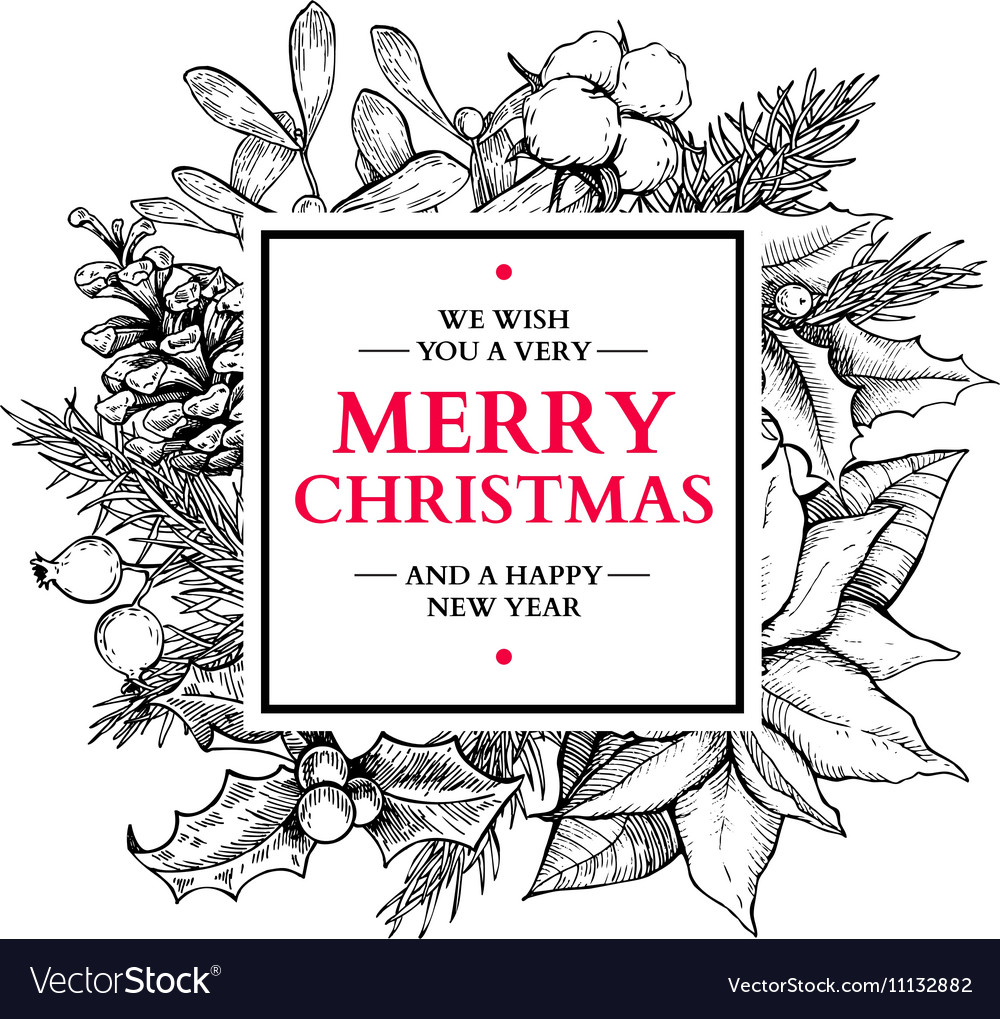 Christmas wreath frame hand drawn vector