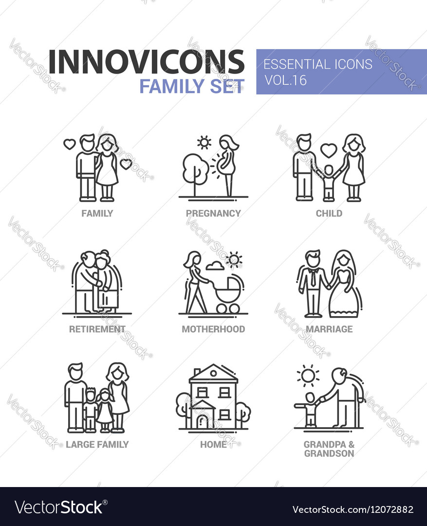 Family  line design icons set vector