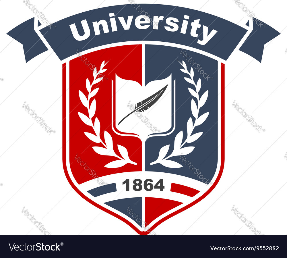 Heraldic sign of university with book on shield vector