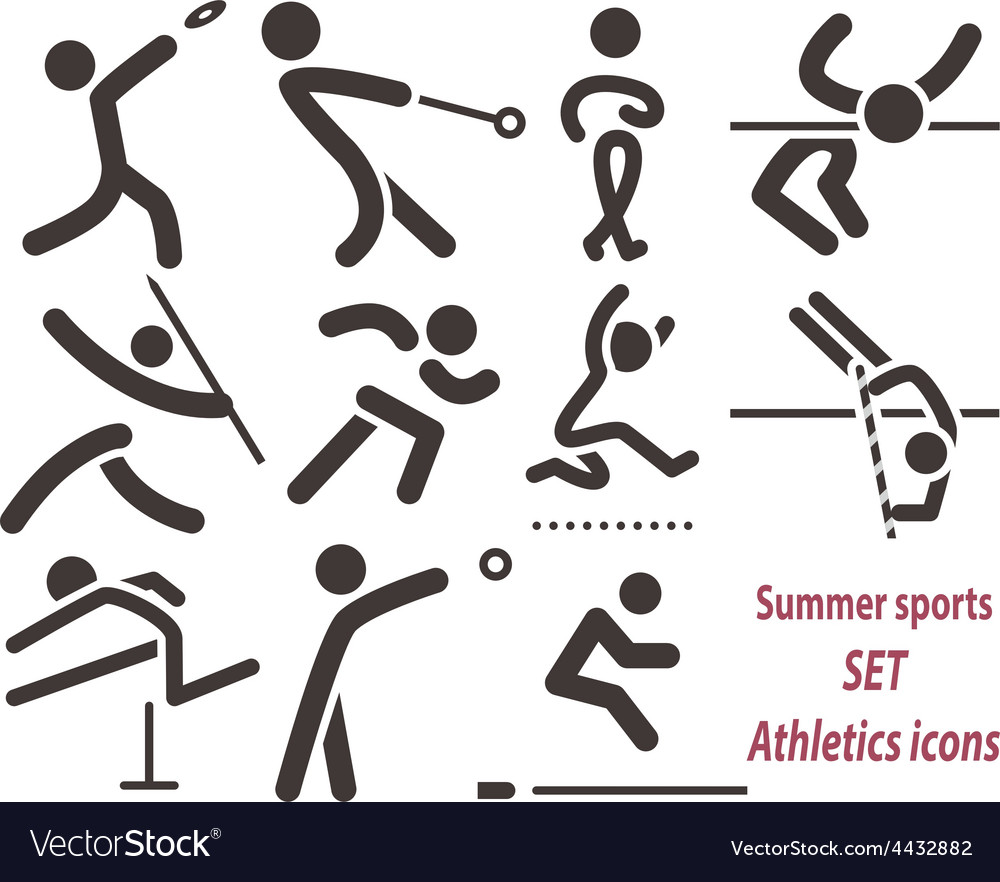 Set of athletics icons vector