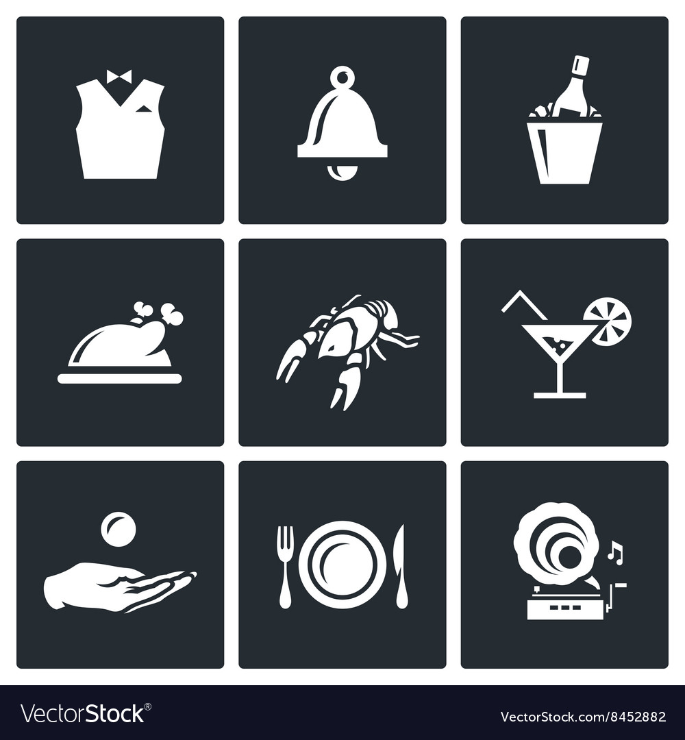 Set of restaurant icons waiter call vector