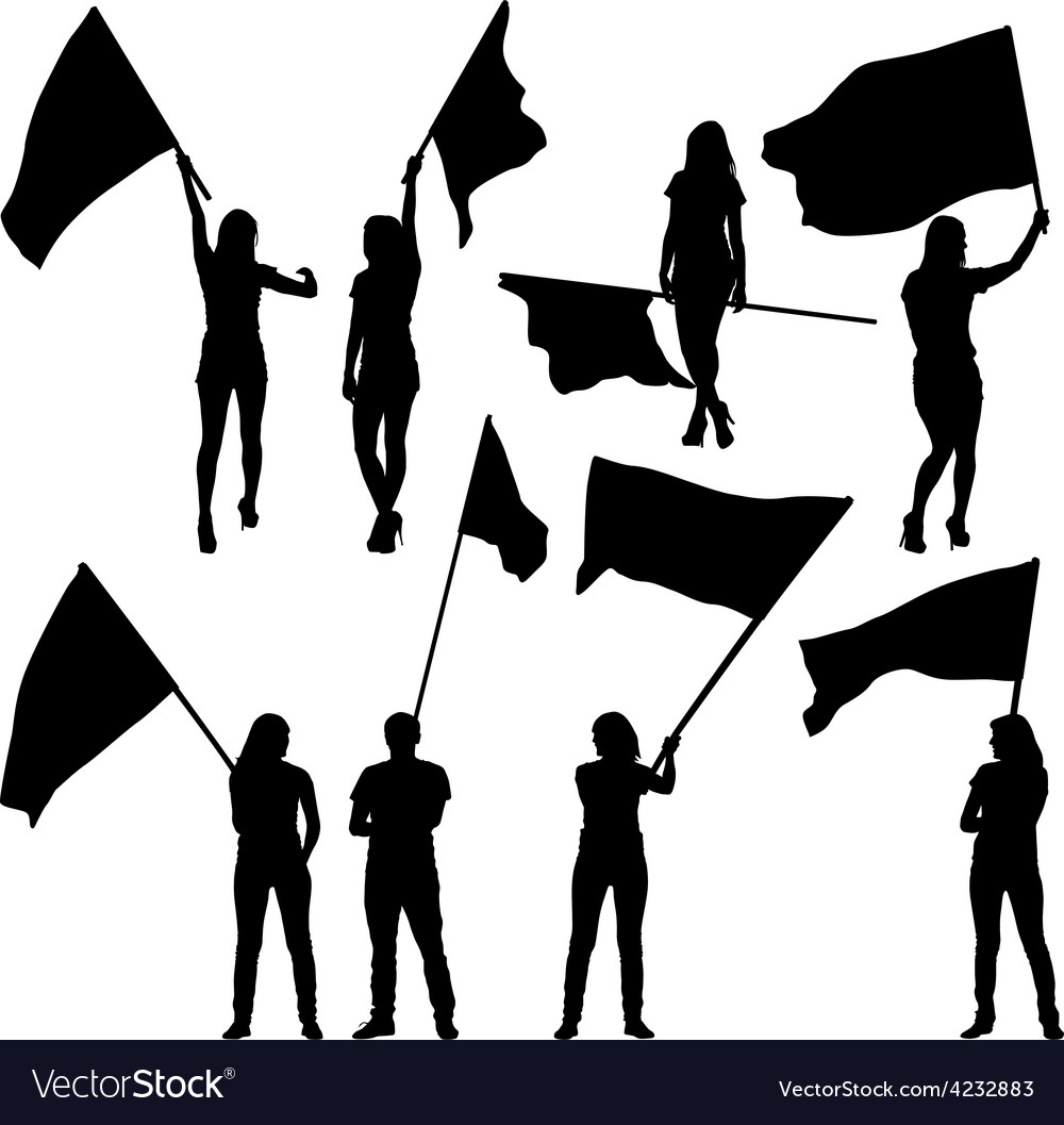 Black silhouettes of mans and womans with flags vector