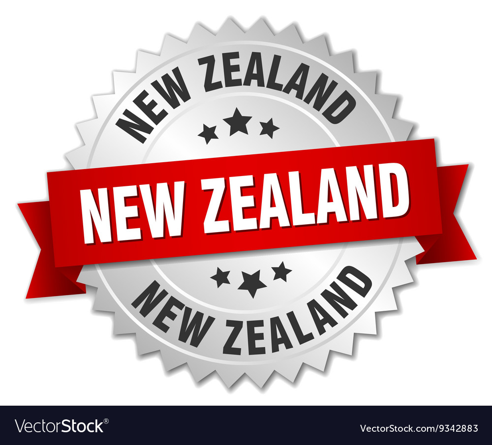 New zealand round silver badge with red ribbon vector