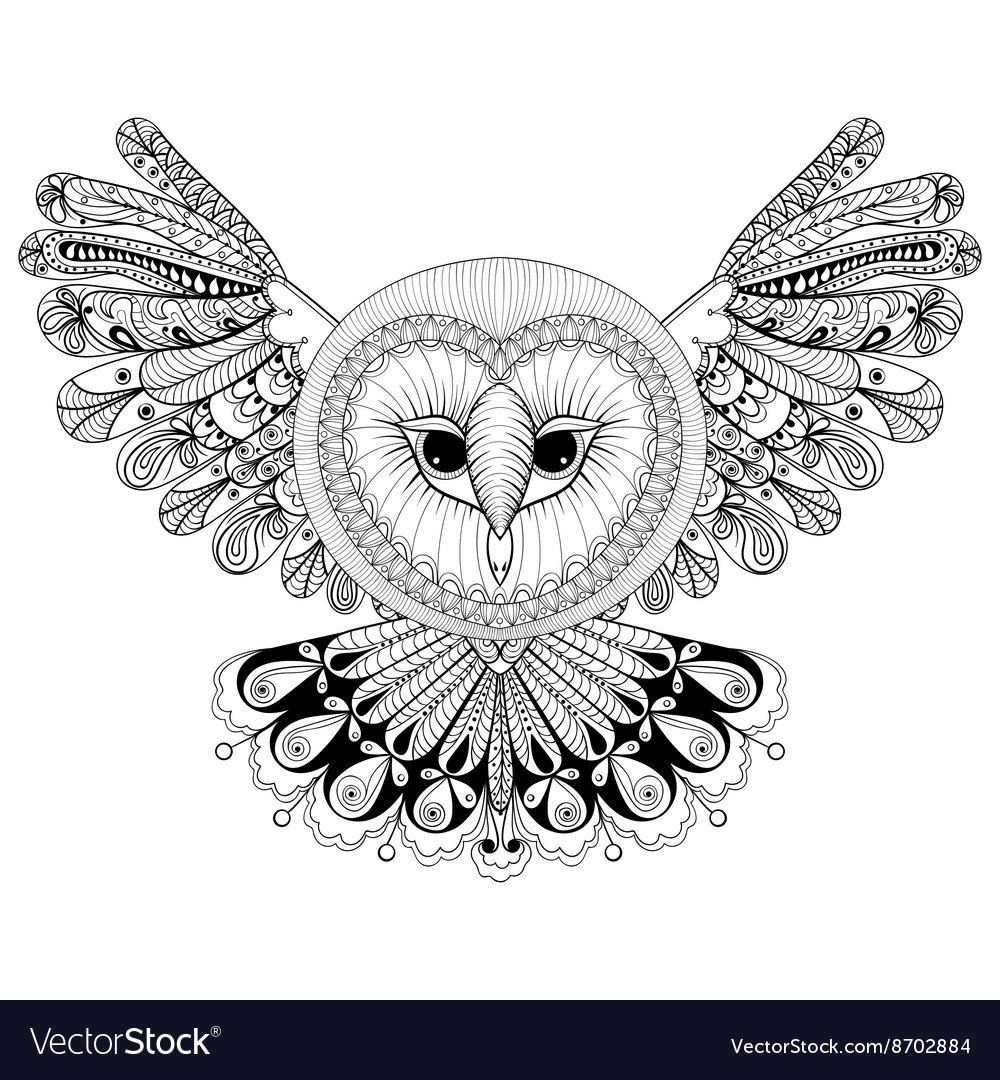 Coloring page with owl zentangle hand drawing vector