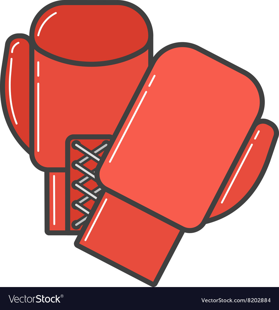 Pair of red boxing gloves vector